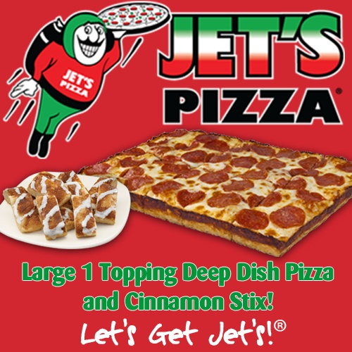 Large 1 Topping Deep Dish Pizza & Cinnamon Stix or Jet's Bread