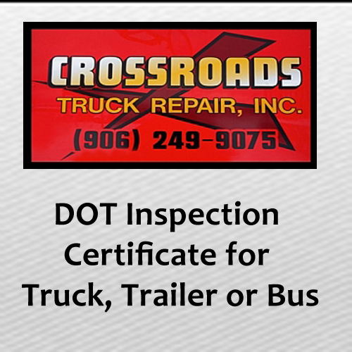 DOT Inspection Certificate for Truck, Trailer, or Bus